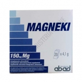 Magneki (Magneva) Magensio Laboratorios Abad (anteriormente Kiluva) 20 sobres - Magneki es una forma práctica de aporte de Magnesio asimilable (150 mg.), mediante cómodos sobres para disolver en agua.