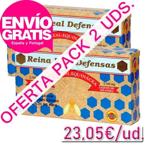 OFERTA - Pack 2 uds. Reina Real Defensas Jalea Real Robis 20 ampollas - OFERTA Reina Real Defensas de Robis. Ideal para fortalecer las defensas. PRODUCTO CON ENVÍO GRATIS A ESPAÑA Y PORTUGAL.