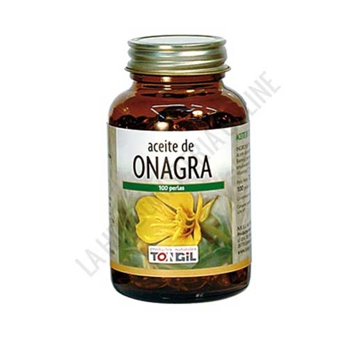 Aceite de onagra Tongil 100 perlas - Tarro de 100 perlas de aceite de Onagra prensado en frío (rico en ácidos grasos poliinsaturados de la serie Omega 6) y vitamina E.