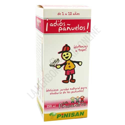Adiós Pañuelo infantil Pinisan 250 ml. - Adios Pañuelo de Pinisan es un jarabe de agradable sabor, desarrollado para ayudar al normal funcionamiento de las defensas de los más pequeños en caso de resfriado y mucosidad.