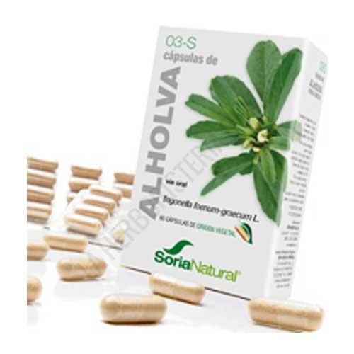 Alholva 3-S Soria Natural 60 cápsulas - Las cápsulas de Alholva de Soria Natural son especialmente útiles para complementar la dieta de personas delgadas al estimular el apetito. PRODUCTO DESCATALOGADO POR EL LABORATORIO FABRICANTE.