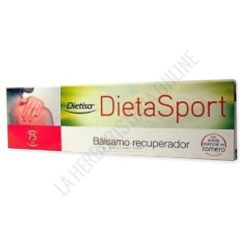 Dieta Sport bálsamo recuperador Dietisa 75 ml. - Dieta Sport de Dietisa es un bálsamo recuperador a base de Mentol y Romero que contribuye a aliviar los dolores y a calmar la rigidez muscular. PRODUCTO ANTIGUO, DESCATALOGADO POR EL LABORATORIO FABRICANTE. Le recomendamos la Nueva formulación  Fisiobalsam Dietisa Bálsamo Recuperador. Pulse aquí para ver el producto.