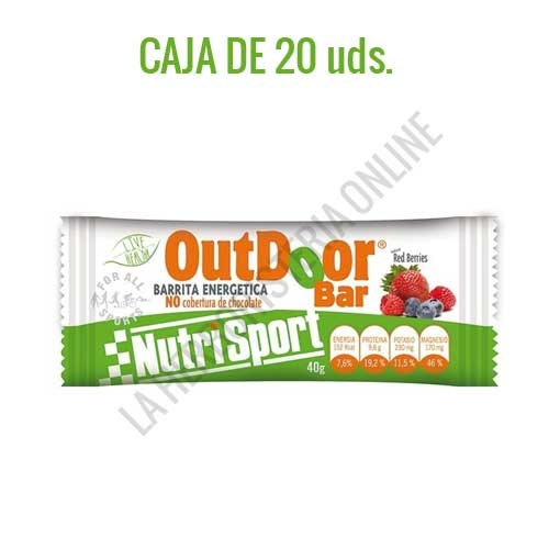 Caja 20 barritas Outdoor Bar energéticas sin cobertura Nutrisport sabor red berries