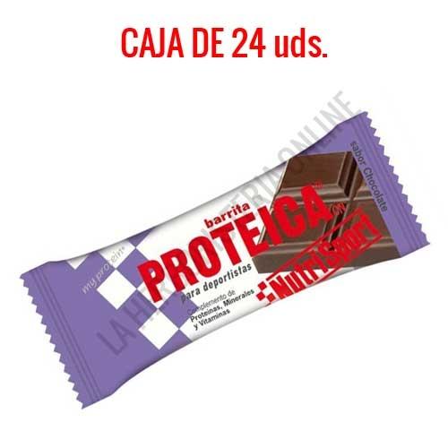 Caja 24 barritas Proteicas Nutrisport sabor chocolate 46 gr. -
