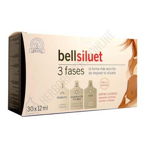 Bellsiluet 3 fases sobres Laboratorios Abad (anteriormente Kiluva) - Bellsiluet 3 fases de Kiluva es una completa fórmula ideal para ayudar a eliminar líquidos y reducir depósitos grasos, en 3 cómodos sobres irrompibles que podrás llevar en el bolso. PRODUCTO DESCATALOGADO POR EL LABORATORIO FABRICANTE.