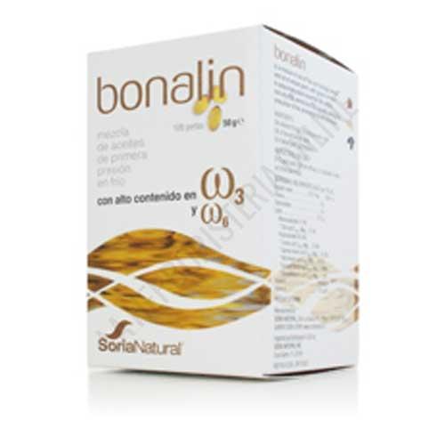 Bonalin aceite de borraja, lino y germen de trigo Soria Natural 100 perlas - Bonalín de Soria Natural es una formulación a base de una mezcla de aceites de semillas de Borraja, Lino y Germen de Trigo que aporta una gran riqueza en ácidos grasos esenciales poliinsaturados omega 3 y omega 6.