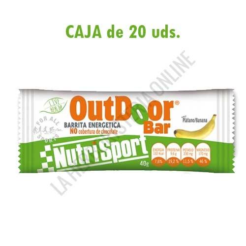 Caja 20 barritas Outdoor Bar energéticas sin cobertura Nutrisport plátano