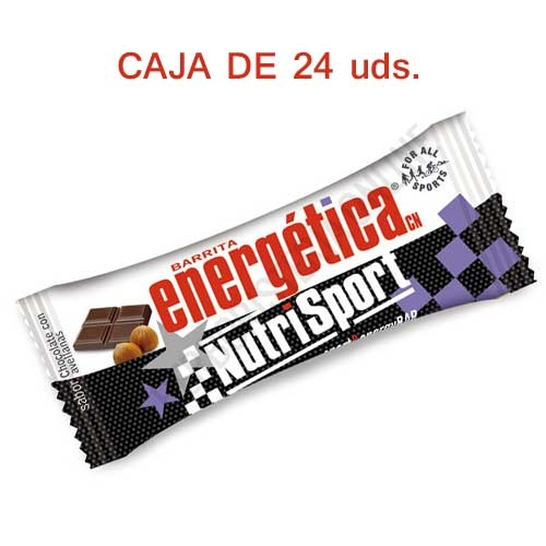 Caja 24 barritas Energéticas Nutrisport sabor chocolate 46 gr.
