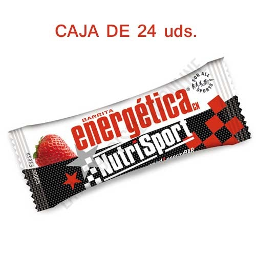 Caja 24 barritas Energéticas Nutrisport sabor fresa - Las Barritas Energéticas Nutrisport resultan ideales para tomar antes de una dura sesión de ejercicio, por su contenido en carbohidratos de asimilación progresiva y proteínas.