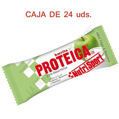 Caja 24 barritas Proteicas Nutrisport sabor yogur manzana 46 gr. -