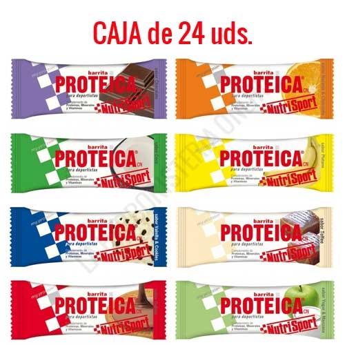 Caja 24 barritas Proteicas Nutrisport sabores surtidos 46 gr.