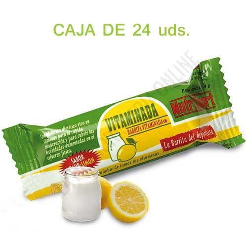 Caja de 24 barritas Vitaminadas Nutrisport yogur limón 44 gr. - Las Barritas Vitaminadas de Nutrisport aportan a la dieta del deportista vitaminas fundamentales para el correcto desarrollo de la actividad física y los procesos de recuperación muscular.   PRODUCTO DESCATALOGADO - NUEVA VITAMIN BAR PULSANDO AQUÍ.