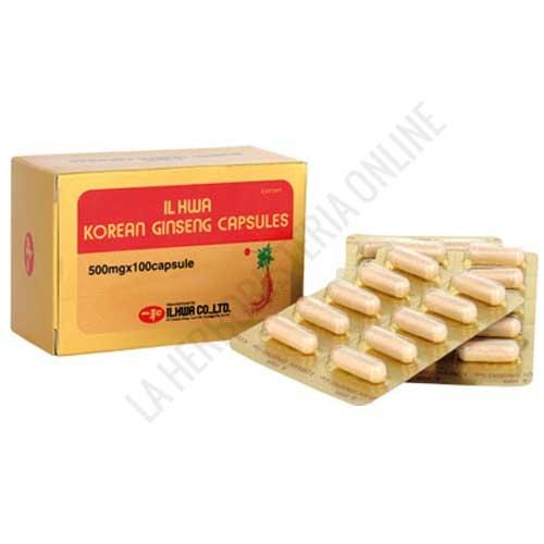 Ginseng IL HWA 500 mg. Tongil blister 100 cápsulas - 100 Cápsulas de Ginseng coreano IL HWA de 500 mg.