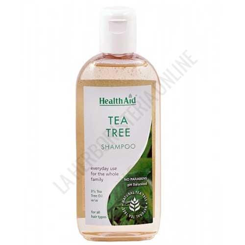 OUTLET Champú Árbol del Té Health Aid 250 ml. - OUTLET - Unidades limitadas. Disponible Champú de Árbol del Té Health Aid. Contenido en perfecto estado, precintado y con fecha de caducidad Febrero de 2021. Motivo Outlet: Últimas unidades en stock. El champú de Tea Tree Health Aid contiene aceite del árbol del té al 3%. Su uso regular ayuda a proteger el cabello de la contaminación del aire, de la caspa y de los piojos para mantenerlo sano y limpio. No reseca el cuero cabelludo.
