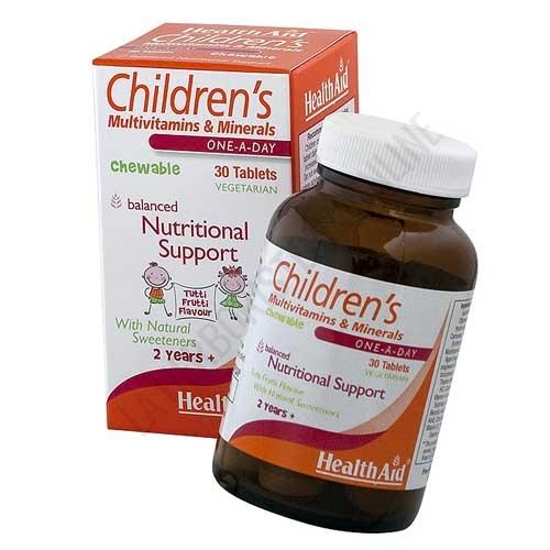 Multinutriente Infantil Health Aid 30 comprimidos masticables - Childrens Multivitamins & Minerals de Health Aid es un completo suplemento que aporta vitaminas, minerales y oligoelementos a los más pequeños, con sabor a frutas y en cómodos comprimidos masticables.