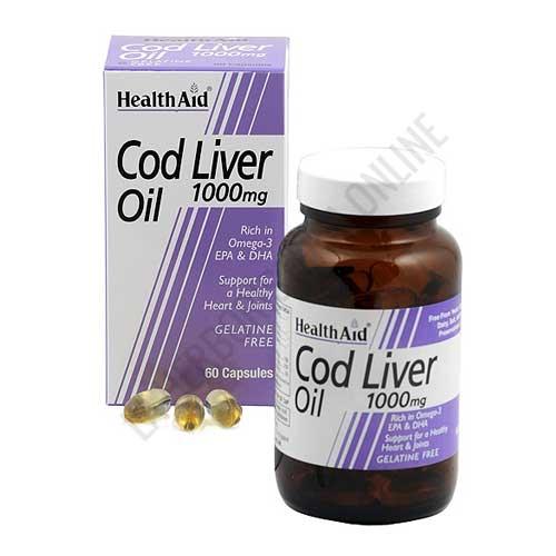 Cod Liver Oil Health Aid (aceite de hígado de bacalao) 60 cápsulas - El aceite de hígado de bacalao Health Aid (60 cápsulas de 1000 mg.) aporta ácidos grasos Omega 3 (EPA y DHA) así como vitaminas A, D y E.