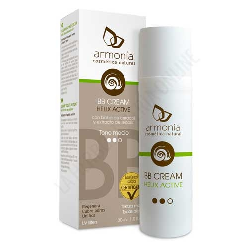 Crema Facial BB Cream tono medio Helix Active Baba de Caracol Ecológica Armonía 30 ml.