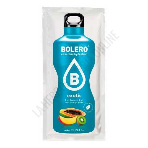 Bebida refrescante sin azúcar baja en calorías Bolero sabor Exotic 9 gr. (equivale a 1,5 l.) - Bolero es un refresco instantáneo sin azúcar y bajo en calorías. Disfruta de su sabor a fruta auténtica obteniendo una  bebida de 1,5 litros sin conservantes ni  alérgenos, con colorantes y aromas de origen natural.