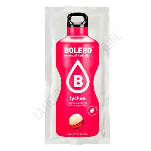 Bebida refrescante sin azúcar baja en calorías Bolero sabor Lichi 9 gr. (equivale a 1,5 l.)