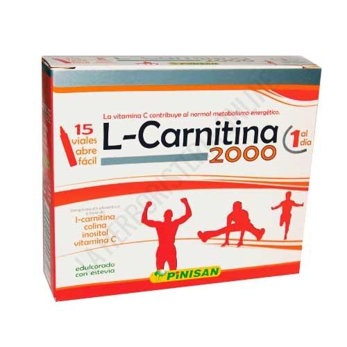 L-Carnitina 2000 mg. líquida Pinisan 15 monodosis - L-Carnitina 2000 de Pinisan es una completa y potente fórmula que contiene por vial 2000 mg. de L-Carnitina, reforzada con Vitamina C, Colina e Inositol.