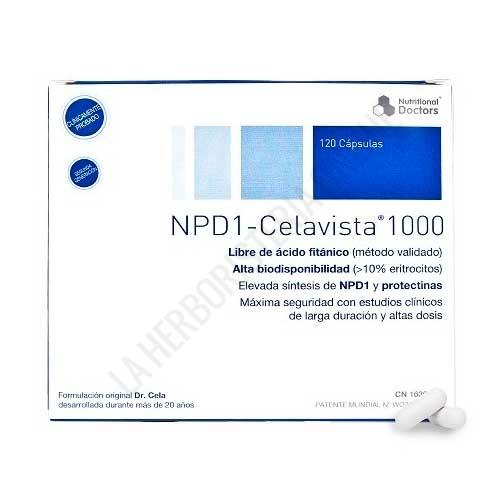 NPD1 DHA 1000 Celavista 120 cápsulas - NPD1-CELAVISTA® es una fórmula desarrollada hace más de 16 años del Dr. José M. Cela a base de nutrientes específicos y una alta concentración de DHA (1.000 mg/cápsula de DHA)  está destinado a apoyar la salud visual y neurológica en la edad adulta.