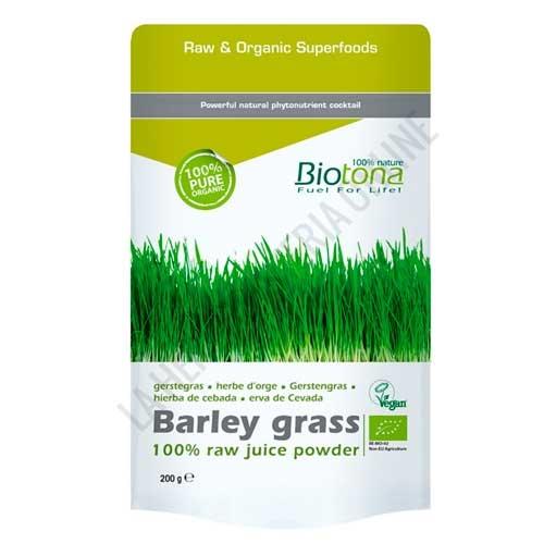 Hierba de Cebada Barley Grass Raw 100% polvo de jugo fresco BIO Biotona 200 gr. -