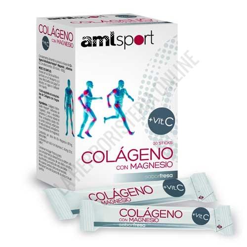 OFERTA Colágeno con Magnesio y Vitamina C sabor fresa Amlsport 20 sticks