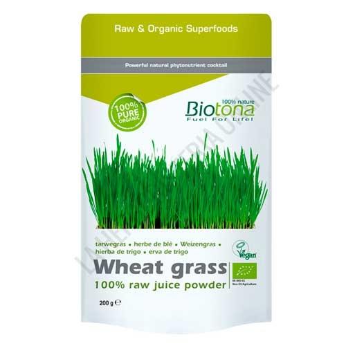 Hierba de Trigo Wheat Grass Raw 100% Polvo de jugo fresco BIO Biotona 200 gr. -