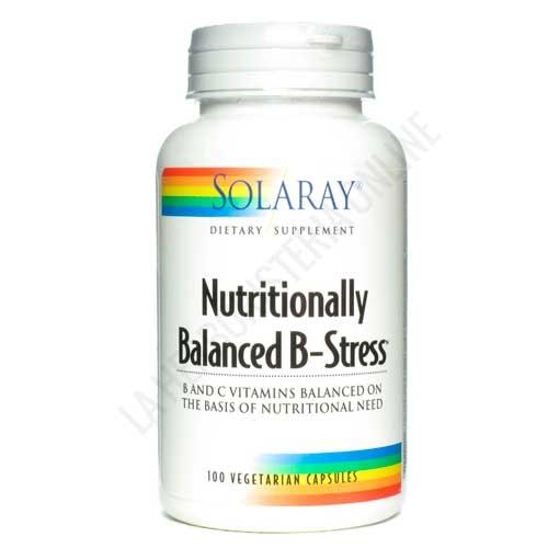 Nutritionally Balanced B-Stress Solaray 100 cápsulas - Nutritionally Balanced B-Stress de Solaray es una óptima combinación de ingredientes activos para el correcto funcionamiento del sistema nervioso, principalmente vitaminas del grupo B en unas concentraciones equilibradas y efectivas.