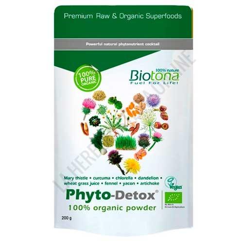 Phyto Detox BIO  100% Polvo Orgánico Biotona 200 gr. - Biotona Bio Phyto-Detox® es una mezcla sinérgica de polvos de plantas 100% biológicas y secadas al aire libre recomendada como aporte diario en nuestra dieta occidental (demasiado rica en grasas) o en curas desintoxicantes.
