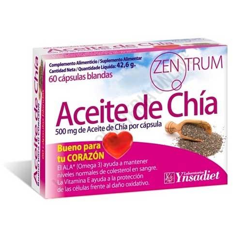 Aceite de chía Zentrum 500 mg. Ynsadiet 60 cápsulas blandas