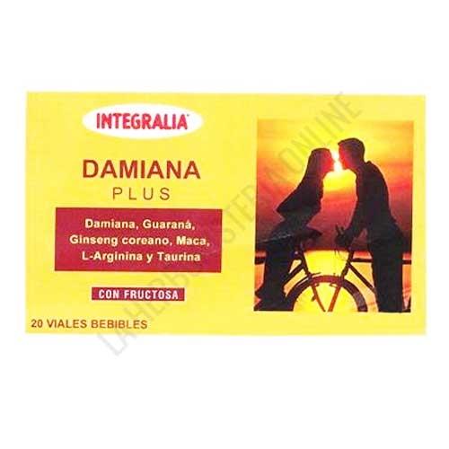 OFERTA Damiana Plus con Guaraná, Ginseng y Maca Integralia 20 viales - Damiana Plus de Integralia es una composición en prácticos viales, a base de Damiana, Guaraná, Ginseng, Maca, Taurina y L-Arginina, muy útil para potenciar las relaciones de pareja.
