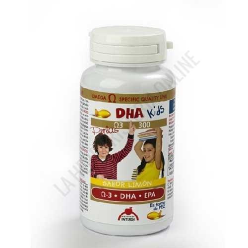 DHA Kids Aceite de Pescado infantil Intersa 90 perlas forma de pez - DHA Kids de Intersa es un suplemento infantil a base de perlas masticables sabor limón y en forma de pez a base de aceite de pescado de máxima calidad, con un alto contenido garantizado en ácidos grasos Omega 3 (DHA + EPA) y de agradable sabor a limón.