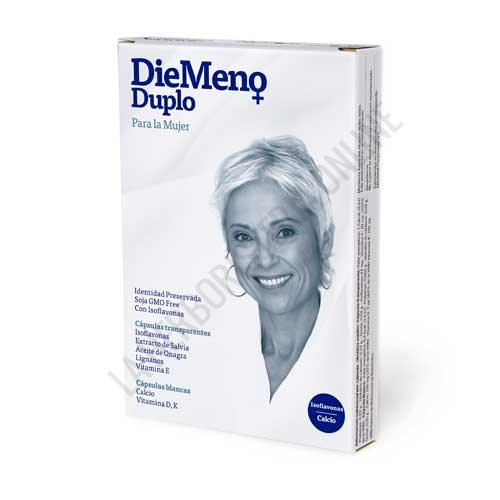 Diemeno Duplo para la mujer isoflavonas + calcio 30 +30 cápsulas - Diemeno Duplo es un complemento específico para la mujer que ayuda a mejorar los síntomas propios de a menopausia y los desarreglos menstruales.