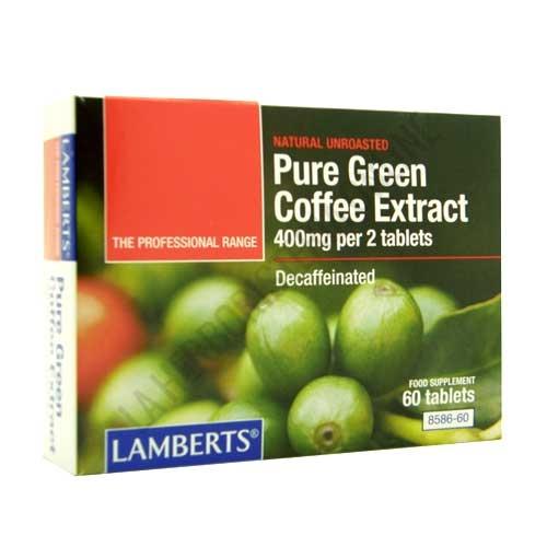 Green Coffee - Extracto de café verde puro descafeinado Lamberts 60 comprimidos - Green Coffee Extract de Lamberts es un complemento descafeinado, diseñado para personas que siguen una dieta de pérdida de peso con control de calorías.