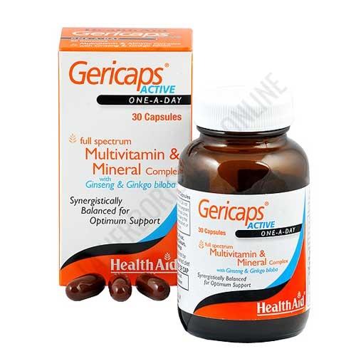 Gericaps Active Health Aid cápsulas - Gericaps Active de Health Aid es una combinación única de vitaminas, minerales y oligoelementos potenciada con ginseng y gingko biloba, que ayuda a maximizar los niveles de energía contribuyendo a reducir el estrés y el cansancio del día a día.