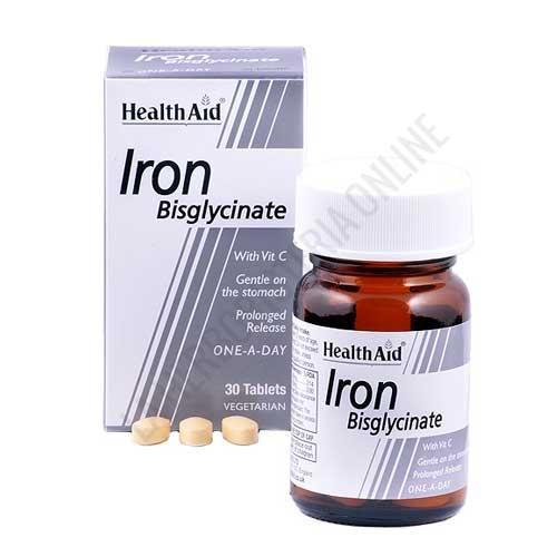 Hierro Health Aid 30 comprimidos de liberación prolongada - Iron Bisglycinate de Health Aid