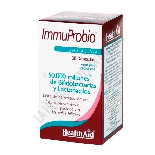 ImmuProbio 50.000 millones Health Aid 30 cápsulas - ImmuProbio® de Health Aid contiene 10 cepas distintas de probióticos y aporta 50.000 millones de microorganismos viables por cápsula, resistentes al ácido gástrico y a las sales biliares para asegurar la potencia del producto.