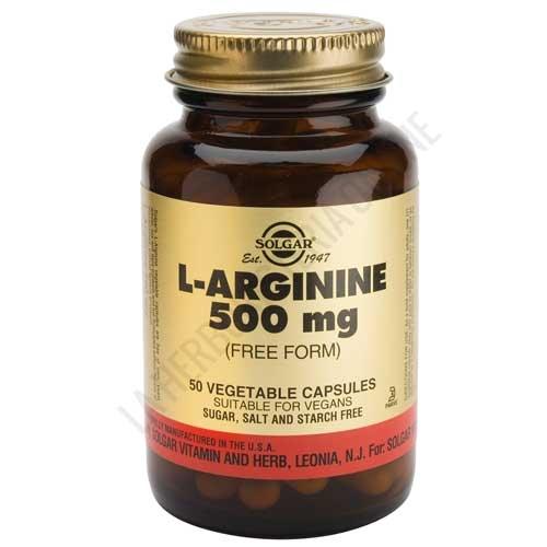 L-Arginina 500 mg. en forma libre Solgar 50 cápsulas - L-Arginine de Solgar contiene 500 mg. de L-Arginina por cápsula en forma libre, para maximizar su absorción.