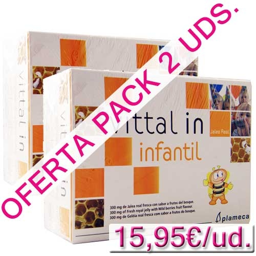 OFERTA  2 uds. Vittal in Jalea Real Infantil Plameca 20 ampollas