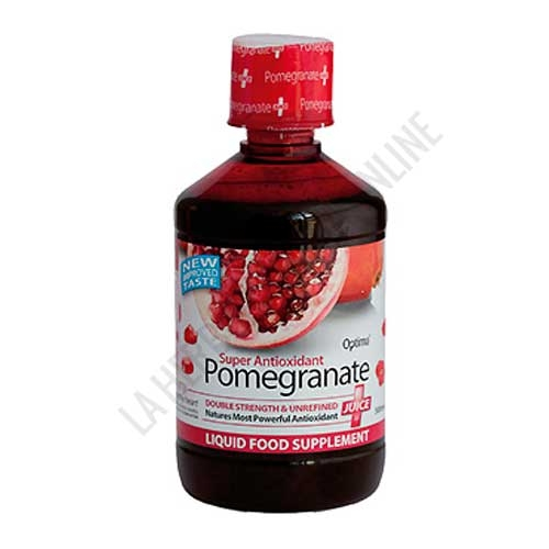 Zumo de Granada Antioxidante Alta Potencia Optima 500 ml. - Pomegranate de Optima es un Zumo de Granada Concentrado elaborado a base de zumo de granada puro y no filtrado, que constituye un antioxidante de Alta Potencia.