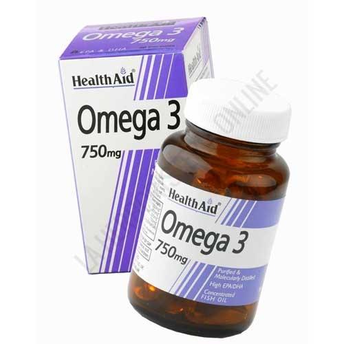 Omega 3 750 mg. Health Aid 60 cápsulas -