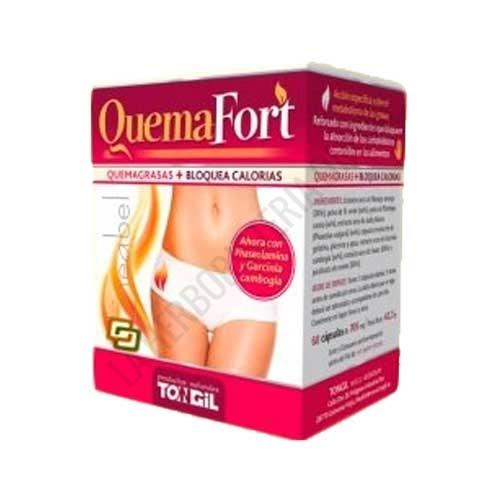 Quemafort Tongil 60 cápsulas - Quemafort Lineabel de Tongil es una formulación específica que ayuda a quemar las grasas de los alimentos y a bloquear la absorción de los carbohidratos ingeridos.