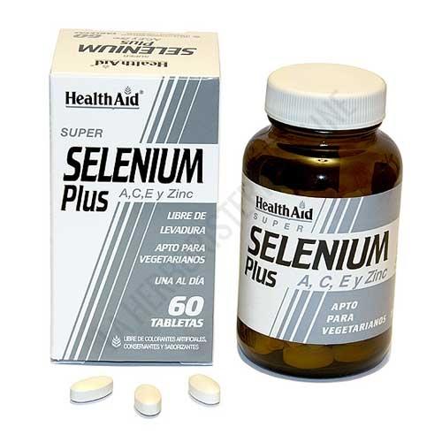 Selenio Plus Health Aid 60 comprimidos - Selenium Plus de Health Aid es una formulación de Selenio reforzado con vitaminas A, C, E y el mineral zinc, una potente combinación antioxidante con gran capacidad de captación de los radicales libres.