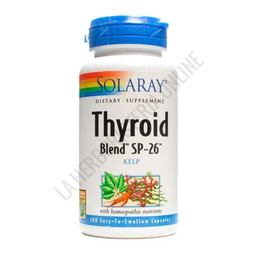 Thyroid Blend SP-26 Solaray 100 cápsulas - Thyroid Blend SP-26 de Solaray es una mezcla patentada a base de plantas tradicionales de apoyo al funcionamiento de la tiroides.
