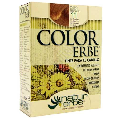 Tinte vegetal Color Erbe sin amoniaco - 11 RUBIO CLARO DORADO - Color Erbe de Natur Erbe es un tinte vegetal que cubre totalmente las canas, formulado sin amoniaco, resorcina, noxynol ni S.L.S. y enriquecido con extractos vegetales, por lo que además de teñir respeta, nutre y da brillo al cabello. PRODUCTO DESCATALOGADO POR EL LABORATORIO FABRICANTE.