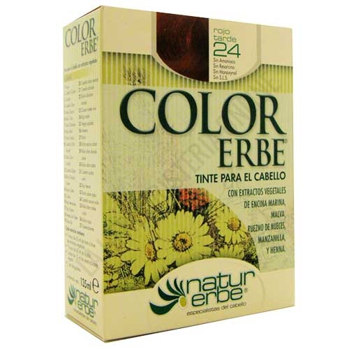 Tinte vegetal Color Erbe sin amoniaco - 24 ROJO TARDE