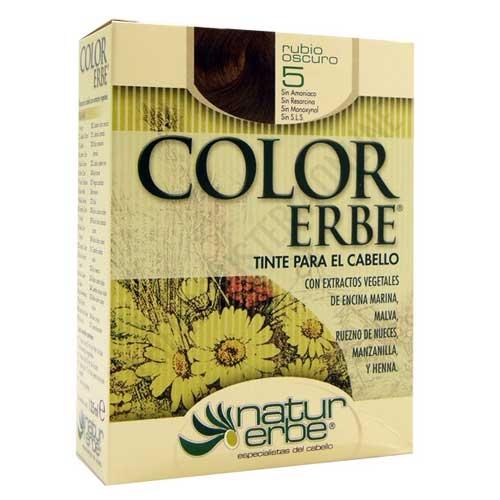 Tinte vegetal Color Erbe sin amoniaco - 5 RUBIO OSCURO - Color Erbe de Natur Erbe es un tinte vegetal que cubre totalmente las canas, formulado sin amoniaco, resorcina, noxynol ni S.L.S. y enriquecido con extractos vegetales, por lo que además de teñir respeta, nutre y da brillo al cabello.
