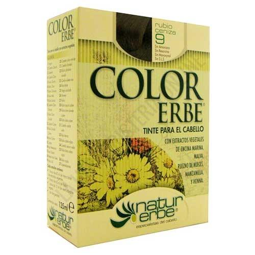 Tinte vegetal Color Erbe sin amoniaco - 9 RUBIO CENIZA - Color Erbe de Natur Erbe es un tinte vegetal que cubre totalmente las canas, formulado sin amoniaco, resorcina, noxynol ni S.L.S. y enriquecido con extractos vegetales, por lo que además de teñir respeta, nutre y da brillo al cabello. PRODUCTO DESCATALOGADO POR EL LABORATORIO FABRICANTE.