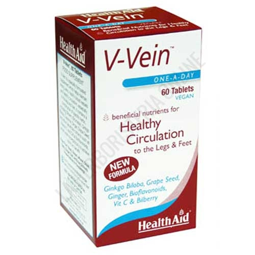 V-Vein Health Aid 60 comprimidos - V-Vein de Health Aid ayuda a mantener los vasos sanguíneos fuertes y sanos, contribuyendo a la salud del sistema circulatorio en especial en piernas y pies.